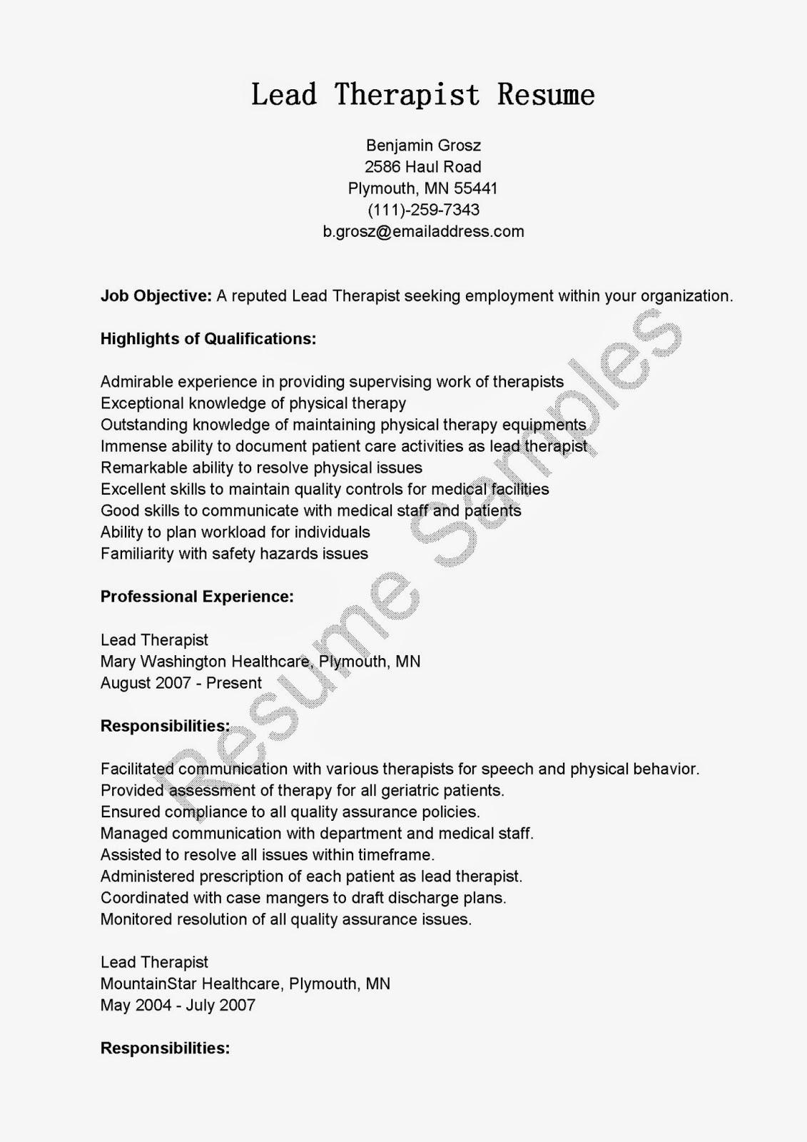 resume samples lead therapist resume sample