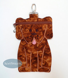Dog Zipper Case, Cinnamon Brown, Doxie