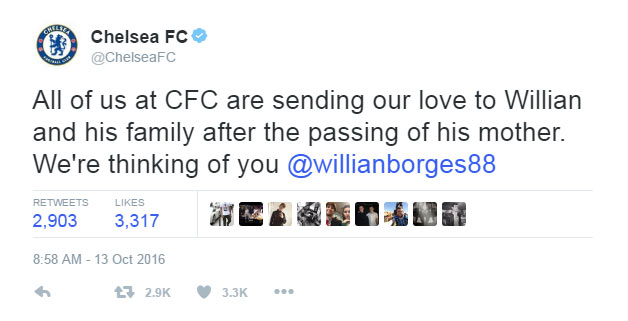 Chelsea forward Willian loses mother following battle with cancer