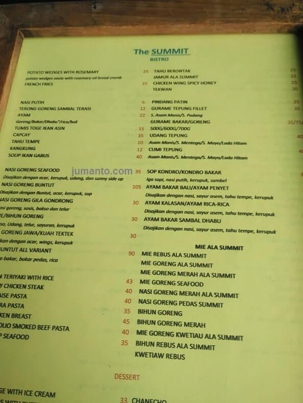 daftar menu makanan the summit bistro bandar lampung