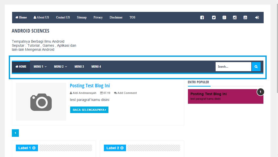 menu navigasi pencarian blog