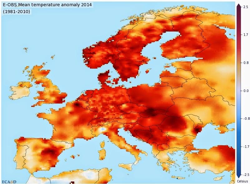 Euroopan lämpötilat