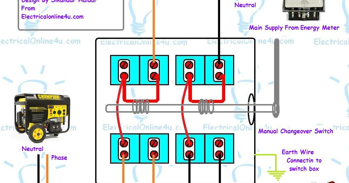 Changeover switch wiring diagram wire center portable generator changeover switch wiring diagram electrical rh electricaltutorials org generator automatic changeover switch wiring diagram automatic swarovskicordoba Choice Image