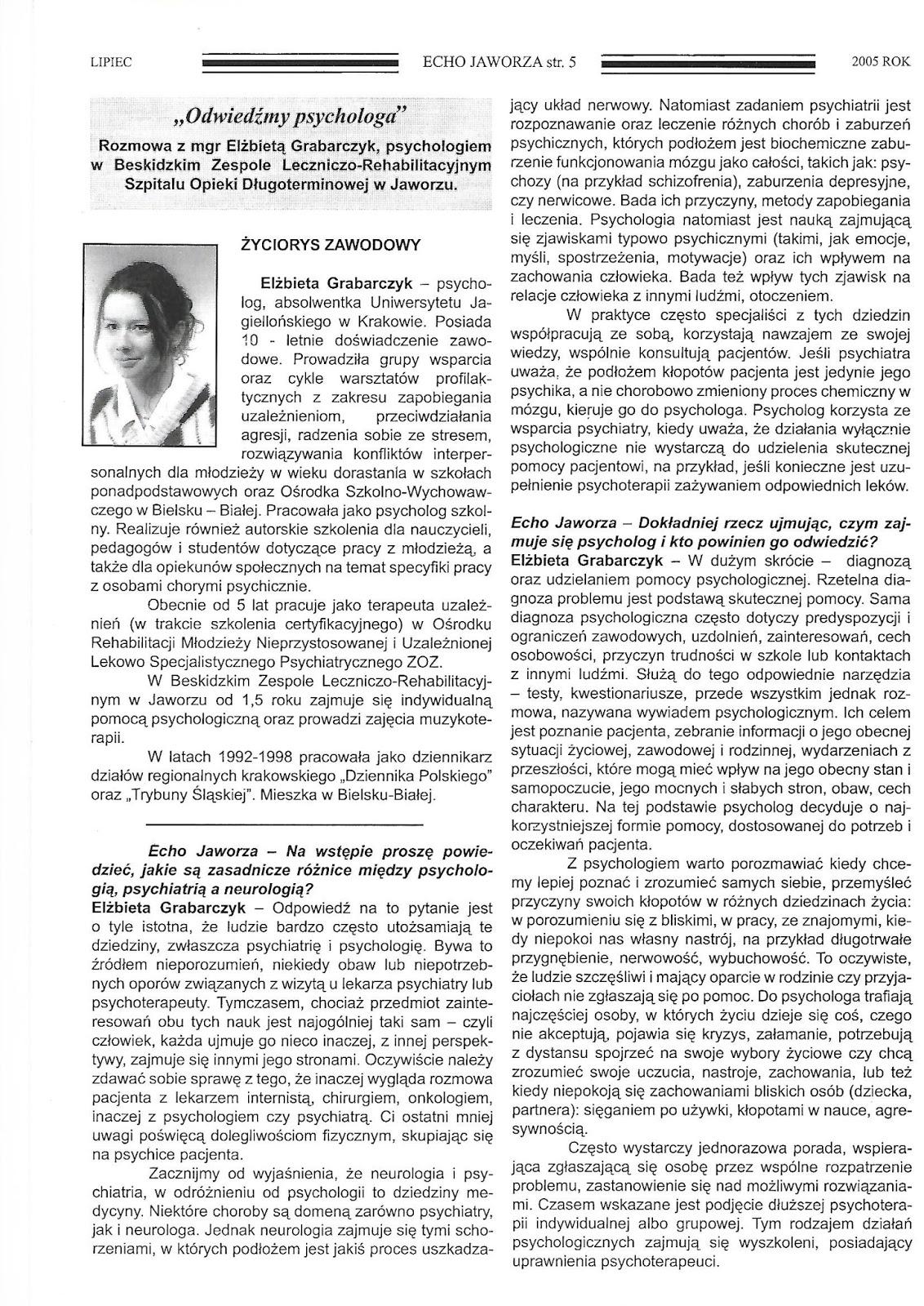 Różnice między psychologią, psychiatrią a neurologią - rozmowa dla Echa Jaworza
