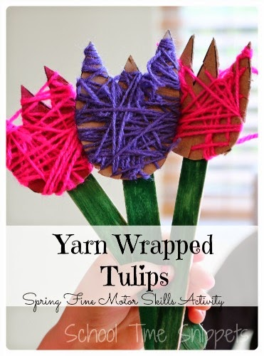 yarn wrapped flower craft for kids