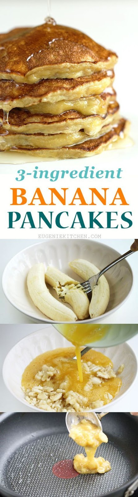3-Ingredient Banana Pancakes Glueten-Free, Flourless, Low-Calorie #banana #bananapancakes #pancakes #pancakesrecipes #easyrecipes #easycook