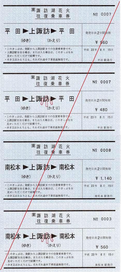JR東日本 第63回諏訪湖花火往復乗車券1 常備券 軟券 平田・南松本駅