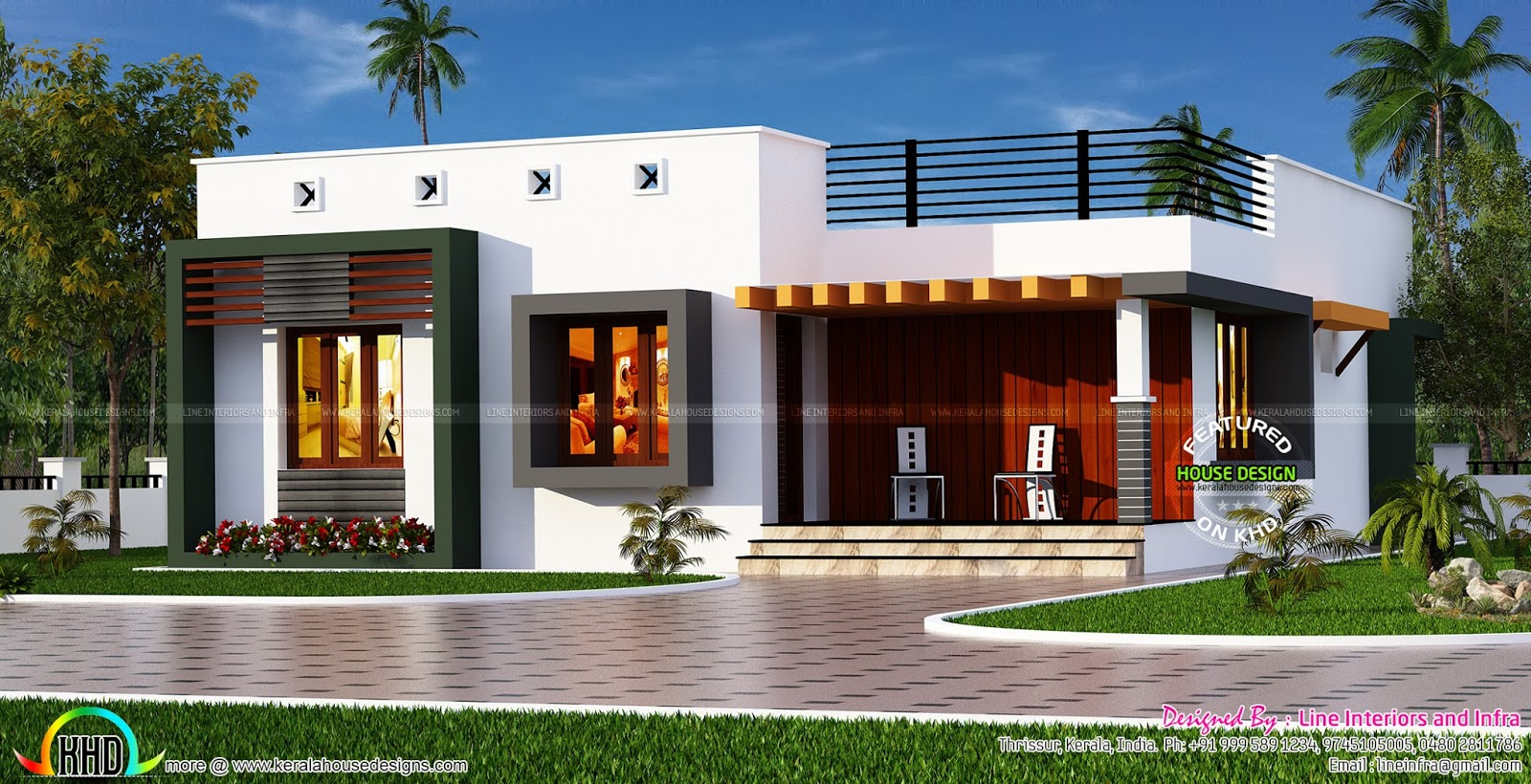 Box type single floor house kerala home design and floor for One level house exterior design