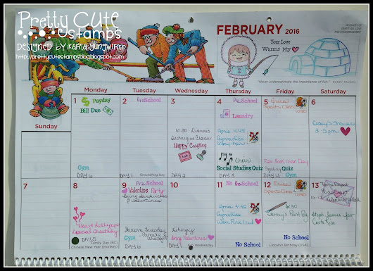 February Calendar using Planner Stamps and More!