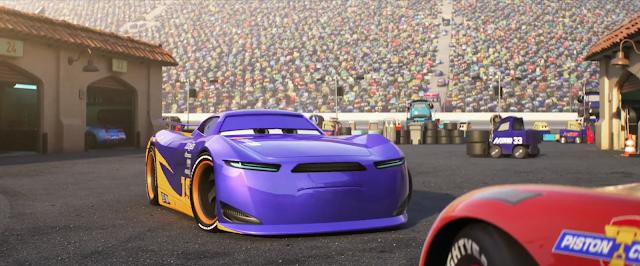 Cars 3 Danny Swervez talks to Lightning McQueen