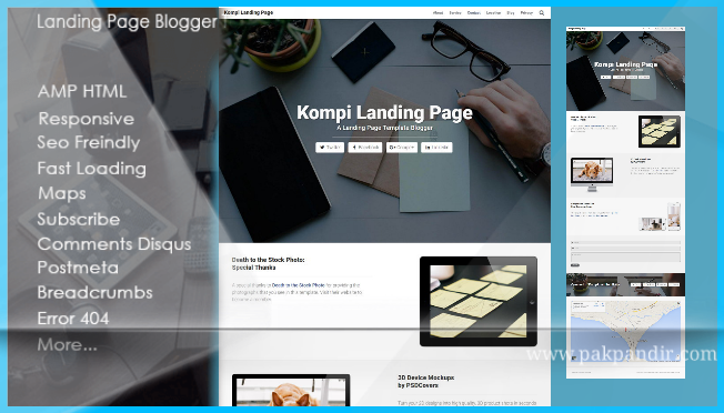 Download Landing Page SEO Friendly Valid HTML5 Blogger Template
