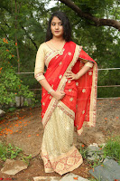 Akshara in Red Saree Golden Choli at LV Movie Makers Production No 1 Movie Opening ~  Exclusive 077.JPG