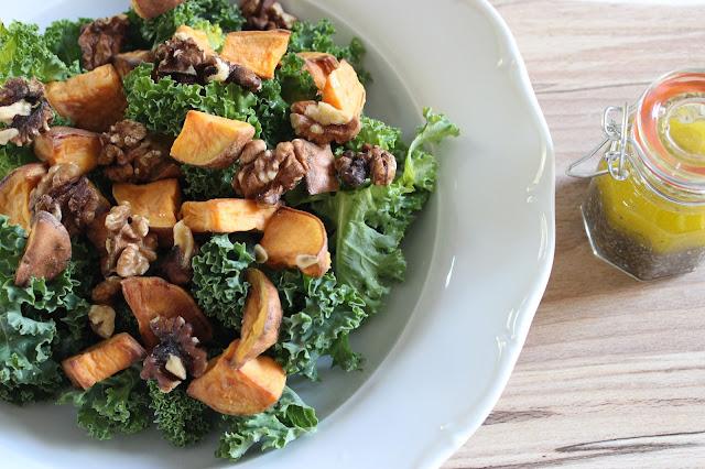 sweet potato, kale and walnut salad with lemon chia seed dressing