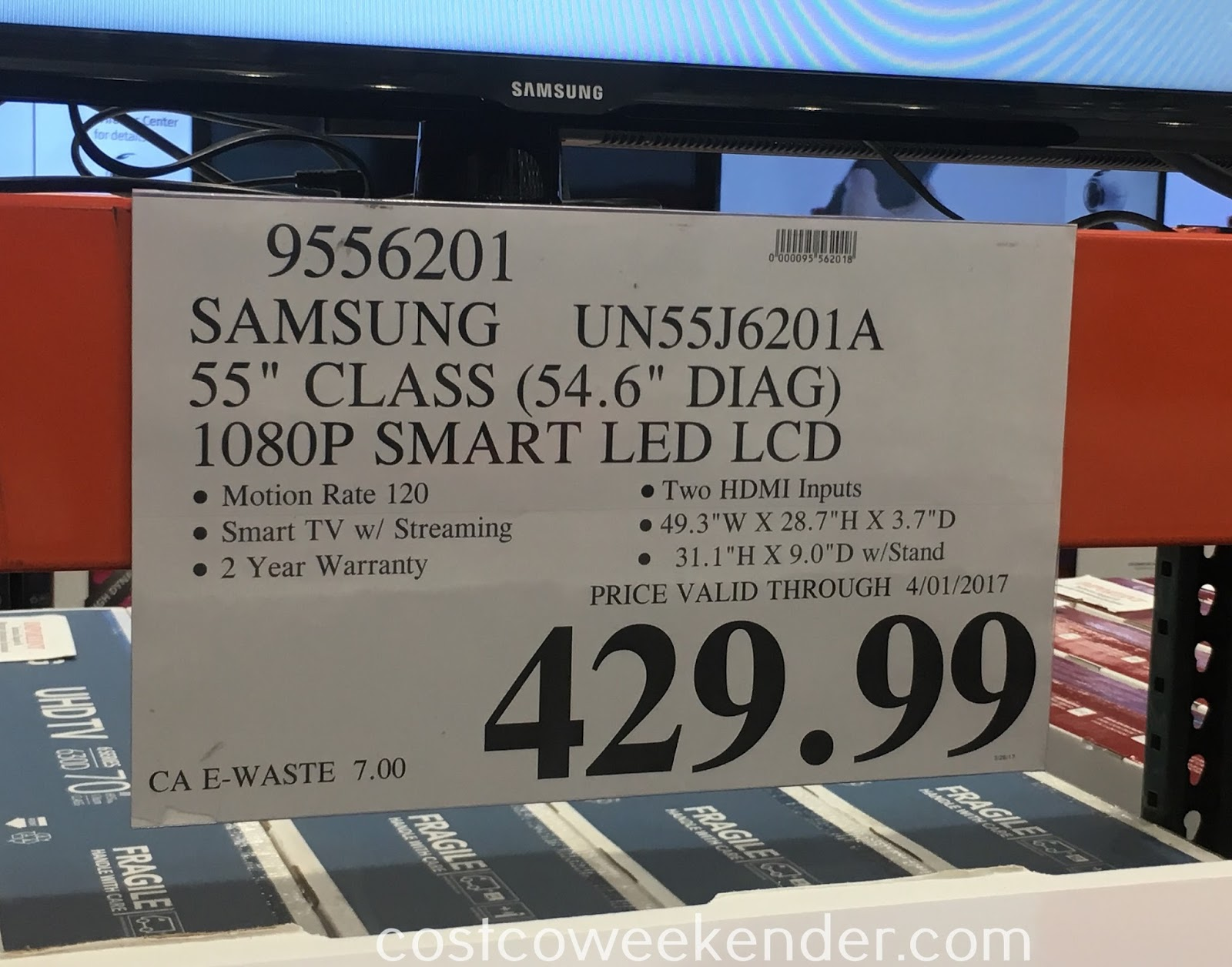 Deal for the Samsung UN55J6201A 55in 1080p LED LCD TV at Costco