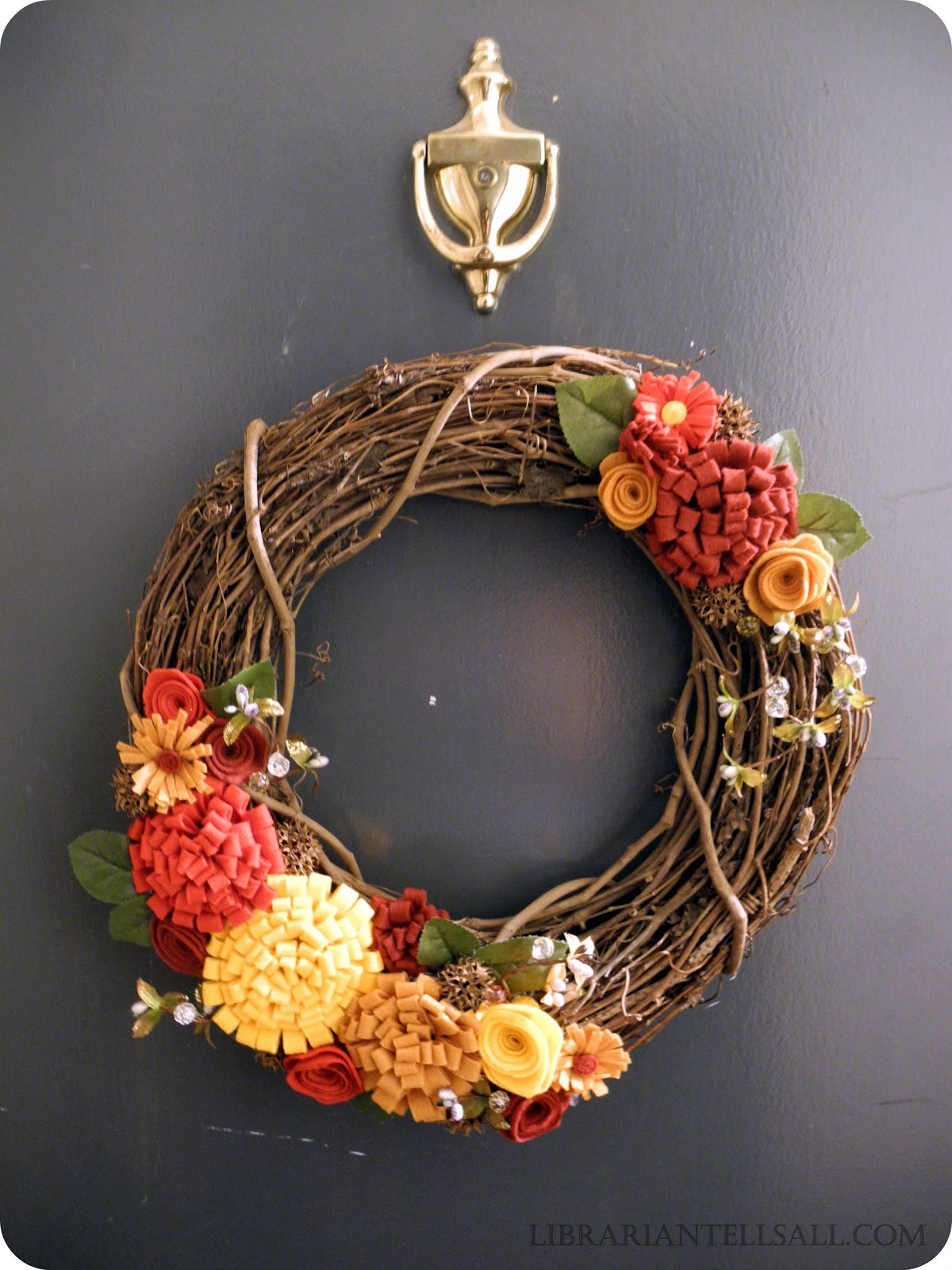 Top Librarian Tells All: I Love Fall! Autumn Grapevine Wreath with  LH33