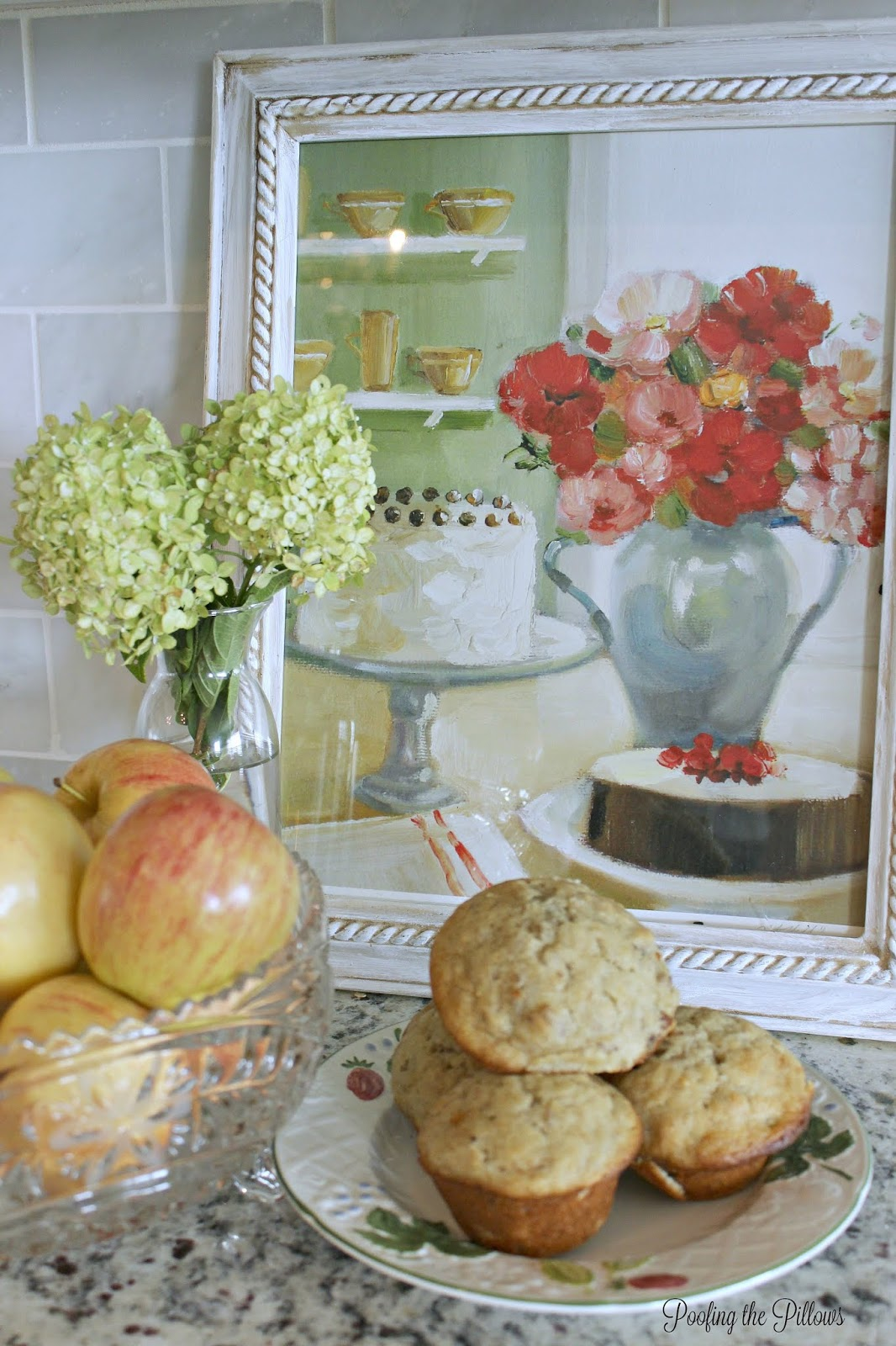 kitchen vignettes with art and fruit. still life.
