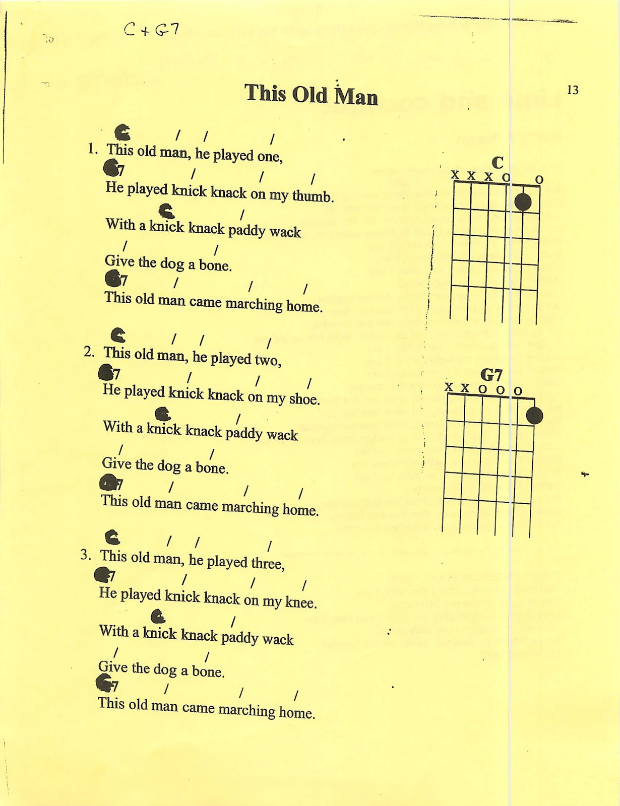 Miss Jacobsons Music Beginning Guitar Chord Songs