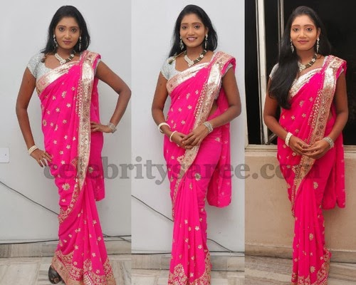 e075bc0be6e165 Nisha in Pink Saree - Saree Blouse Patterns