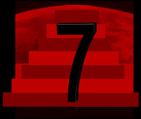 a graphic off the number 7 with red steps in the background to signify 7 steps to prepare for the Tribulation