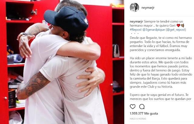 Las emotivas palabras de despedida entre Neymar y Pique