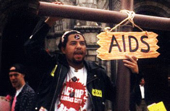 Miguel M. Morales at an ACT UP protest in St. Louis, Mo.