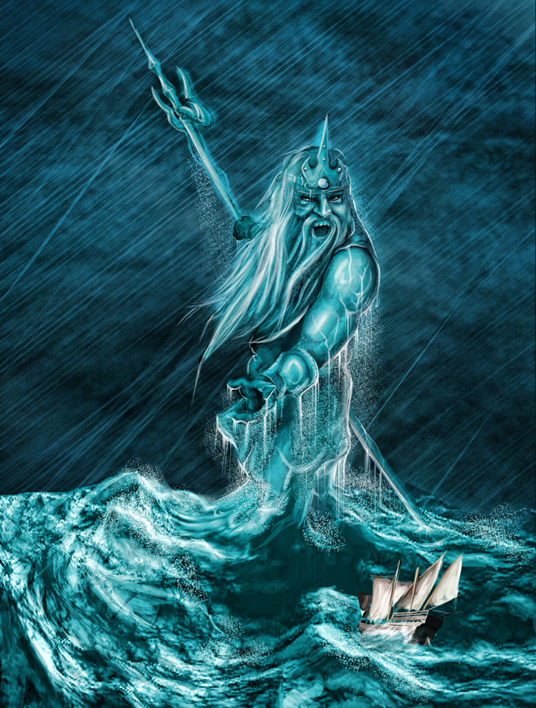 Digital Mixed Media: Greek God- Poseidon