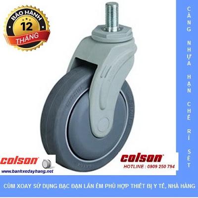 Bánh xe đẩy cao su y tế giường bệnh lăn êm Colson tại Nha Trang www.banhxepu.net