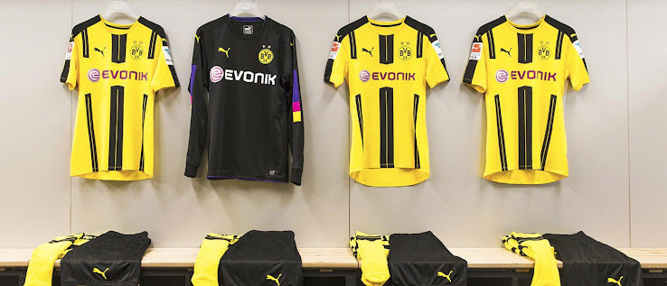 e36cfc06e On the back under the collar of the new Borussia Dortmund 2016-2017 Home Kit  is the lettering BVB