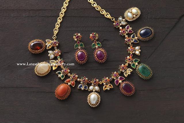 Navarathna Drops Necklace