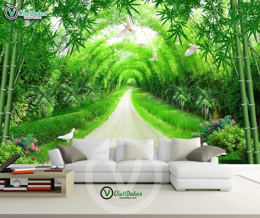 Tranh dán tường Rừng tre đẹp cho phòng khách
