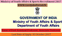 Ministry of Youth Affairs & Sports Recruitment 2017– Assistant Professor, Associate Professor