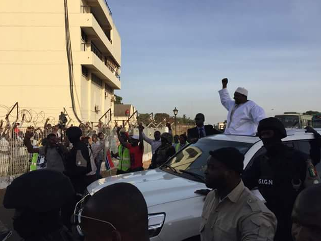 The Gambia's President Adama Barrow has landed in Banjul from Senegal.