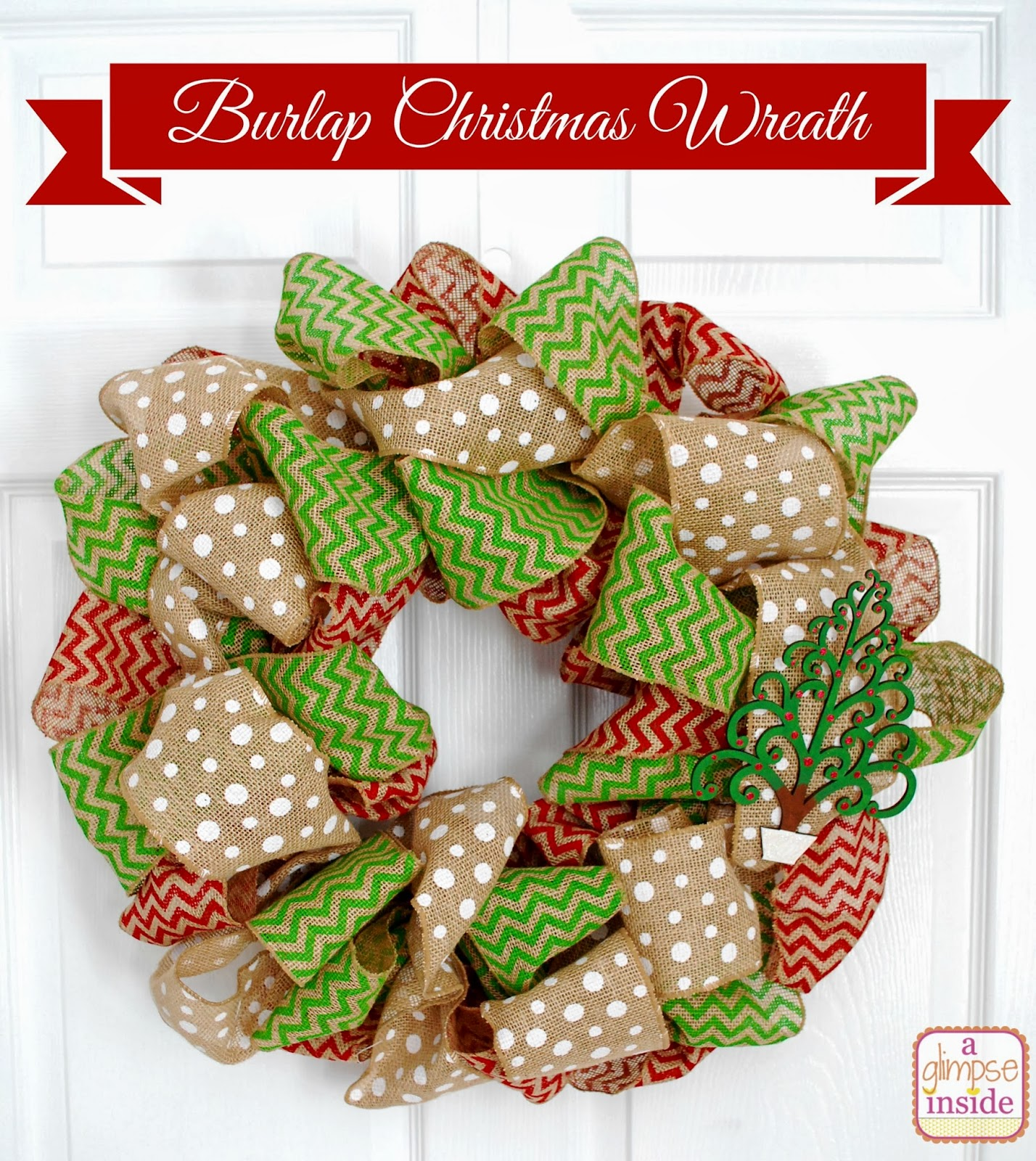 this wreath is very similar to my spring chevron wreath but if you didnt see that one ill share how i made this one as well - Burlap Christmas Wreath