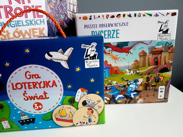 Kapitan Nauka - gra loteryjka świat - puzzle obserwacyjne rycerze - na tropie angielskich słówek - gry i książeczki dla dzieci - jak nauczyć dziecko angielskiego - Wydawnictwo Edgard