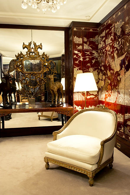 Coco Chanel hotel suite, favourite white armchiar at the Ritz