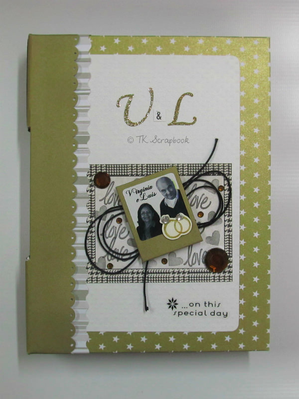 caderno scrapbook com encadernação longstitch bodas de ouro