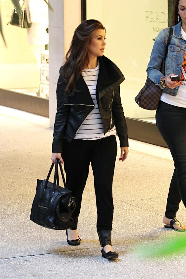 Kourtney Kardashian wearing a Kardashian Kollection jacket which is a great  alternative if you love the Rick Owen styles 081bbcbddc931