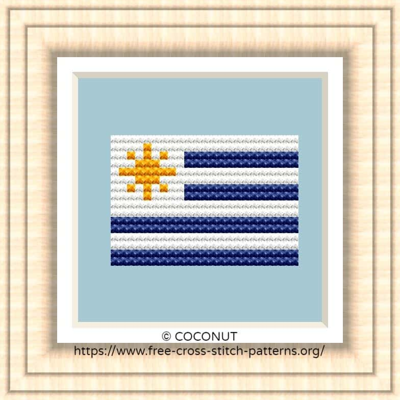 NATIONAL FLAG OF URUGUAY CROSS STITCH CHART