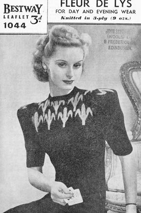 The Vintage Pattern Files: Free 1940's Knitting Pattern - Bestway 1044 Fleur de Lys