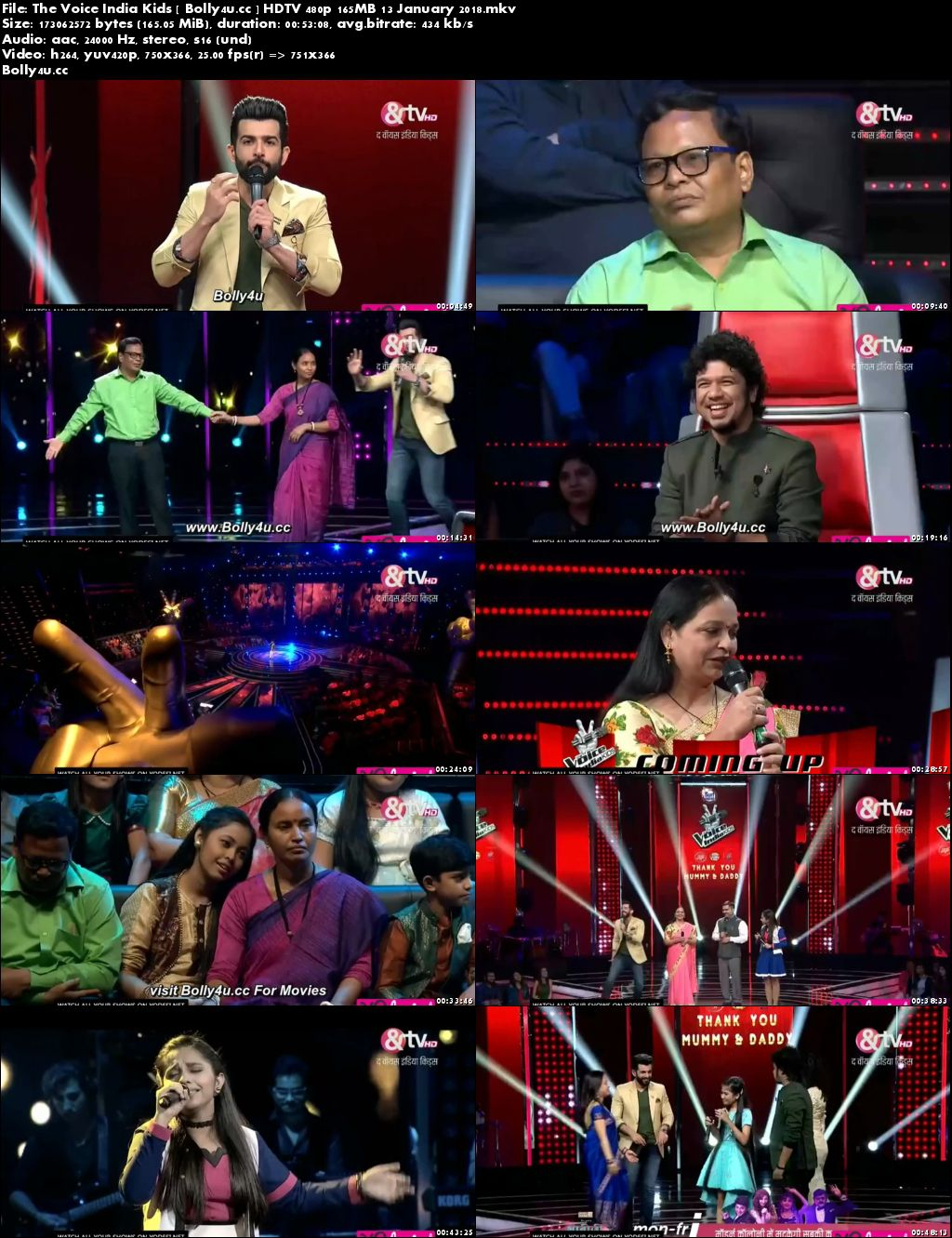 The Voice India Kids HDTV 480p 160MB 13 January 2018 Download