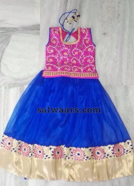 Blue and Pink Simple Net Lehenga