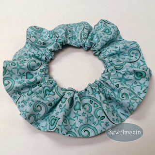 Blue Hearts and Stars Valentine Pet Scrunchie Ruffle