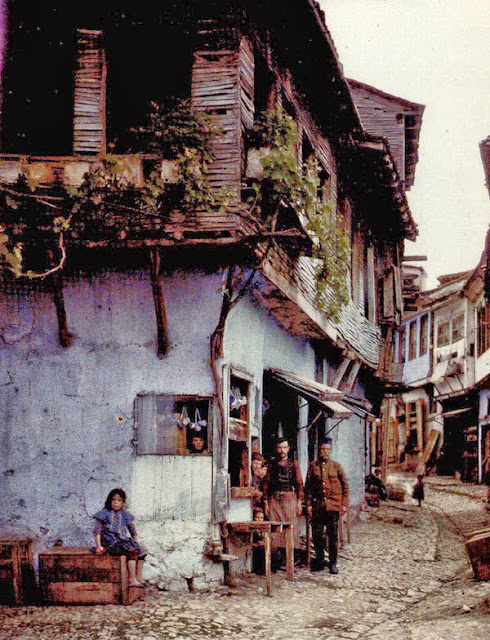 A street next to the Saint Sophia church. At the corner of the street there is a house with a tavern on the ground floor. The house dates from the end of the 19th century. Ohrid in 1913