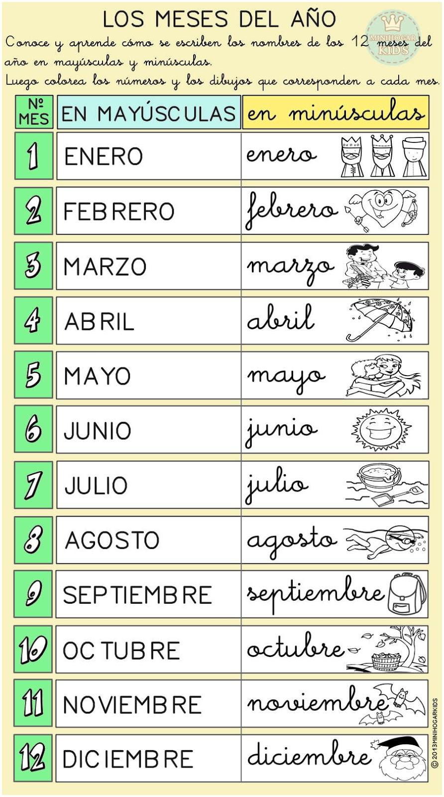 Los Meses Del Ano En Espanol Imagui