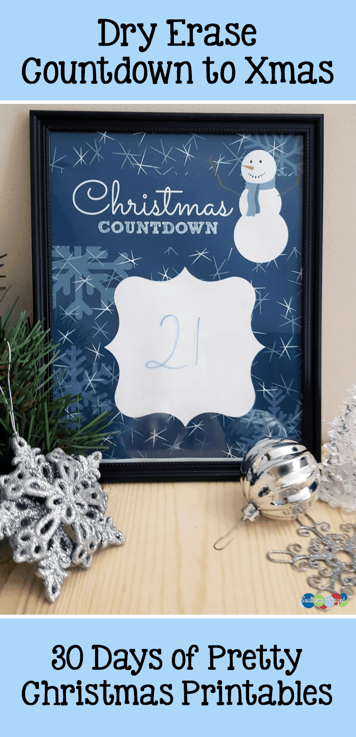 30 Days of Pretty Christmas Printables. This is a DIY Christmas Countdown from Southern Krazed. It's placed in a frame and you write on it with dry erase markers. Hosted by GradeOnederful.com