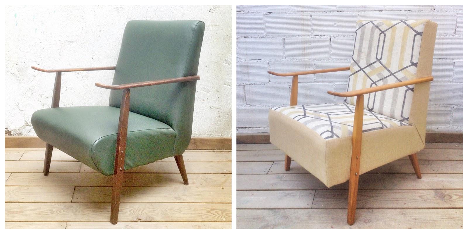 Antes y después - Sillón años 50 tela estampado geométrico - Studio Alis