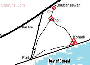 konark-puri-bhubaneswar map how to reach