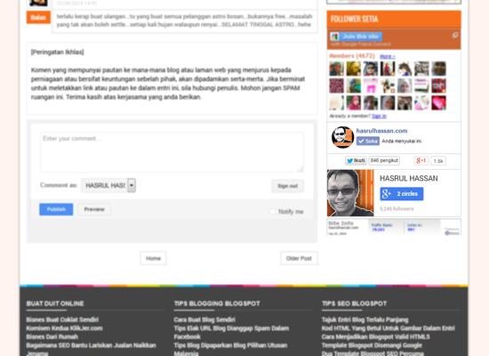 Widget Media Sosial Blogspot