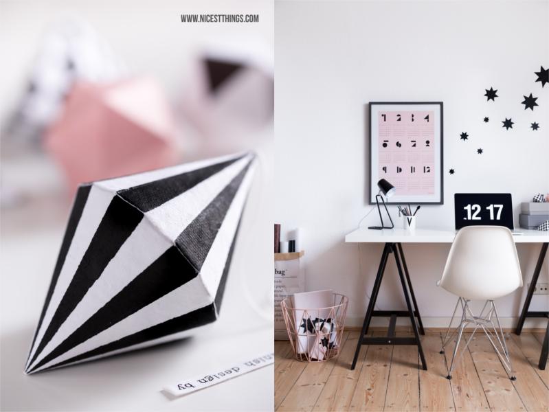 Home Office schwarz weiß Arbeitsplatz skandinavisch rosa Eames Sterne #homeoffice #workingspace #workingplace #schreibtisch #arbeitsplatz