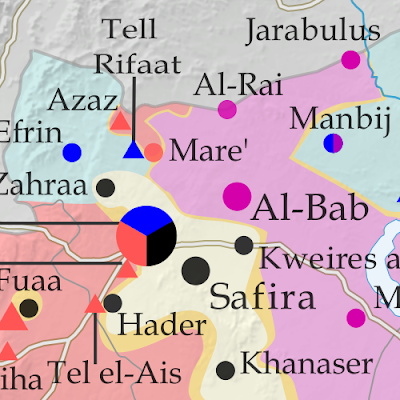 Map of fighting and territorial control in Syria's Civil War (Free Syrian Army rebels, Kurdish YPG, Syrian Democratic Forces (SDF), Al-Nusra Front, Islamic State (ISIS/ISIL), and others), updated for June 2016. Now includes terrain and major roads (highways). Highlights recent locations of conflict and territorial control changes, such as Manbij, Mare, Tanf border crossing, Thawra/Tabqa, Arak, and more.
